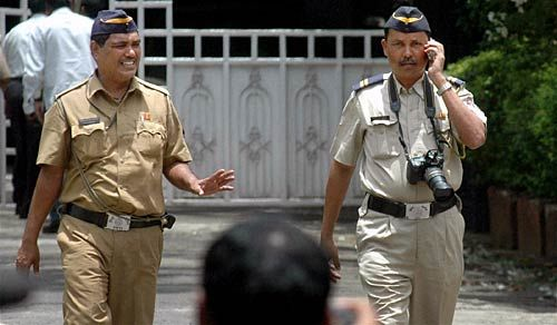 Cops outside Hema Malini's house