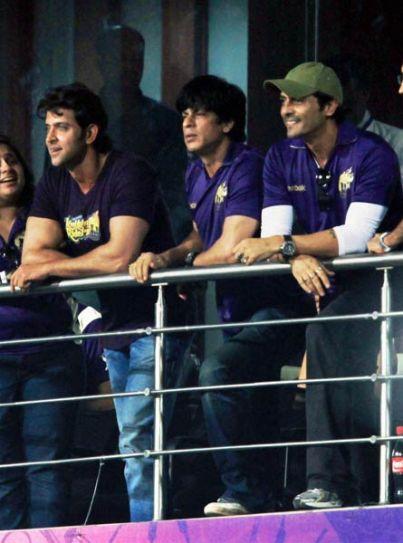 Shah Rukh Khan and Bollywood stars Hrithik Roshan (left) and Arjun Rampal (right)