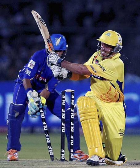 Chennai opener Michael Hussey is bowled out by Rajasthan bowler Johan Botha