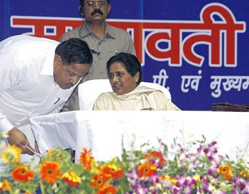 Mayawati with BSP worker