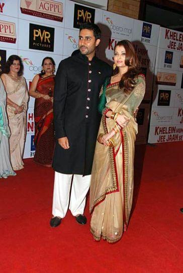 Abhishek Bachchan with Aishwarya Rai Bachchan and Jaya Bachchan