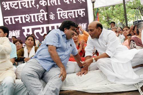 Nitin Gadkari with Rajnath Singh at Rajghat