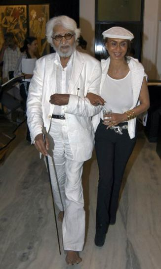 MF Husain with Parmeshwar Godrej