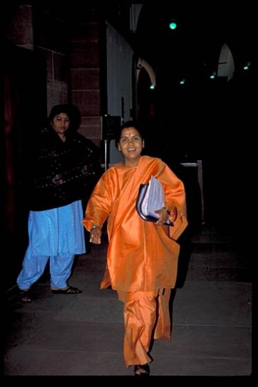 Uma Bharti arrives to attend a BJP meeting in New Delhi