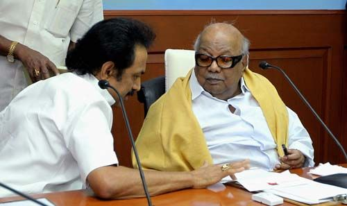 DMK supremo M Karunanidhi with his son MK Stalin