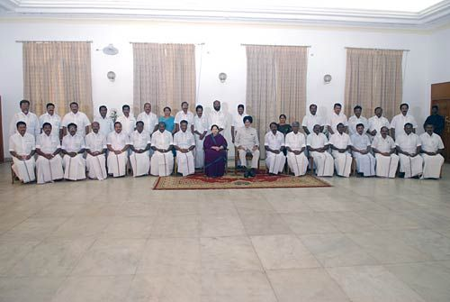 Tamil Nadu Governor Surjit Singh Barnala, Chief Minister J. Jayalalithaa and cabinet ministers