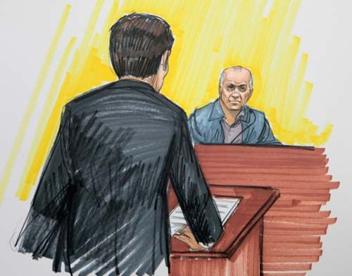 Sketch of David Headly in a US court