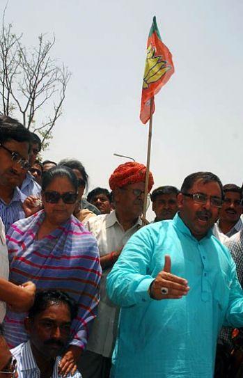 Vasundhara Raje with BJP workers