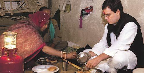 Rahul Gandhi at the home of dalit widow Kalavati Bandurkar
