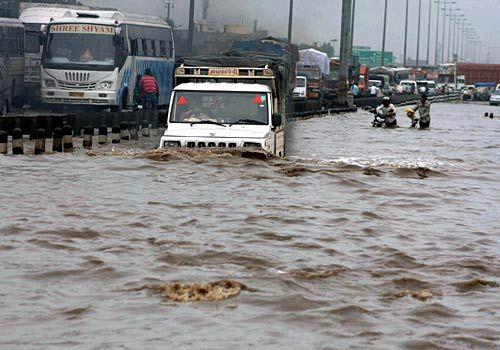 A flooded street in Gurgaon