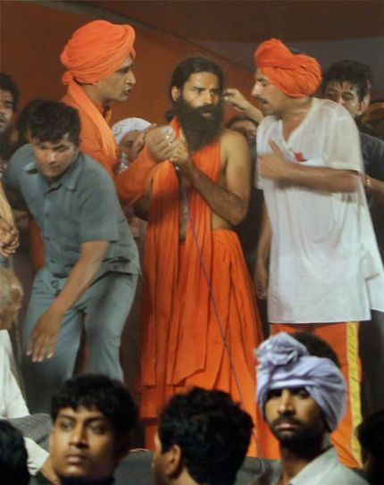 Baba Ramdev with supporters