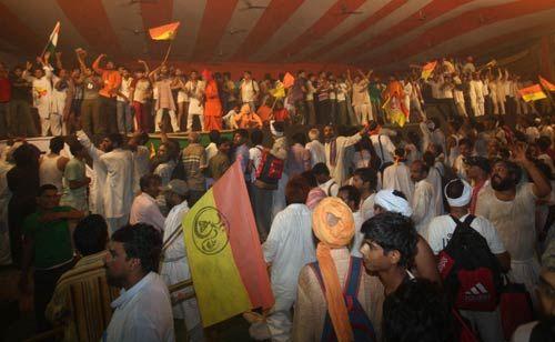 Supporters of Baba Ramdev at Ramlila Maidan in New Delhi.
