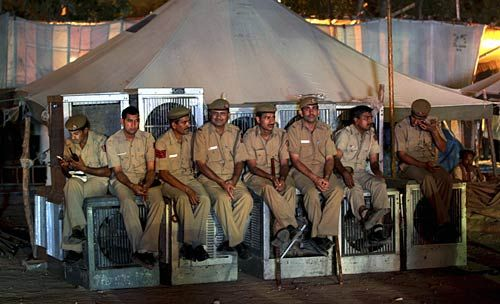 Policemen at Ramlila Maidan, New Delhi