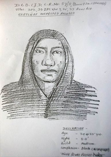Sketch of one of the suspects who killed J Dey