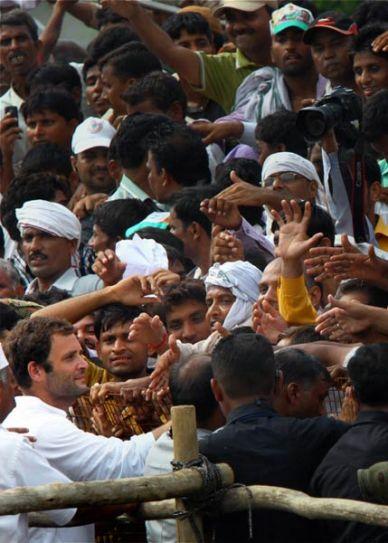Rahul Gandhi greets the crowd