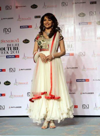 Madhuri Dikshit walks the ramp on Day 1 of Delhi Couture Week