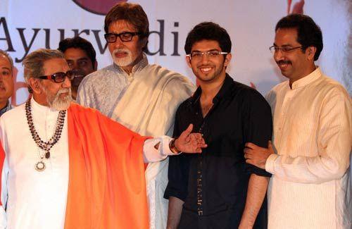Balasaheb Thackeray, Amitabh Bachchan, Aditya Thackeray and Uddhav Thackeray