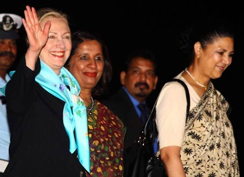 Hillary Clinton with Nirupama Rao