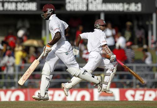 West Indies' Kirk Edwards (left) and Shivnarine Chanderpaul