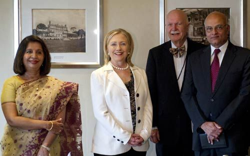Shiv Shankar Menon, Hillary Clinton, Nirupama Rao, and US Ambassador to India A. Peter Burleigh