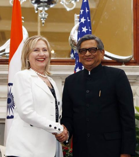 Hillary Clinton with S M Krishna