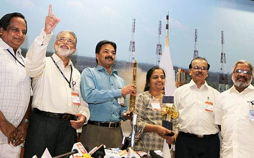 ISRO Chairman Radhakrishnan and other officials at a press conference on the successful launch of the PSLV C-17