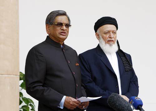 S.M. Krishna and Professor Burhanuddin Rabbani in New Delhi