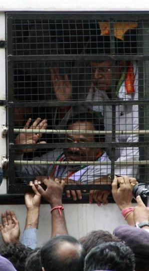 Congress leaders held by police