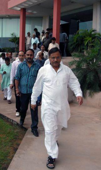 RCA chairman Mahesh Joshi arrives from the RCA office in Jaipur