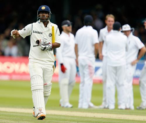 India's Abhinav Mukund walks off the pitch