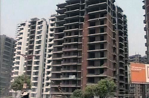 Under-construction building in Noida Extension