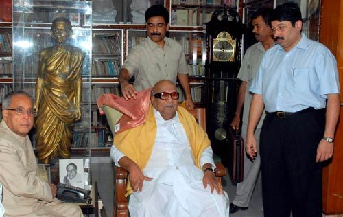 Pranab Mukherjee with M Karunanidhi