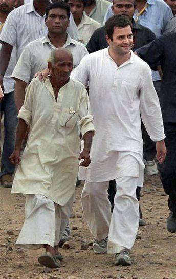 Rahul Gandhi in Bhatta Parsaul village.
