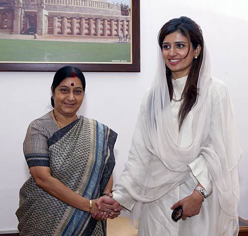 Sushma Swaraj and Hina Rabbani Khar