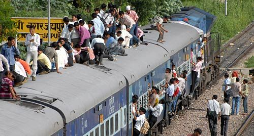 The Rajasthan Teacher Eligibility Test candidates journey atop a train