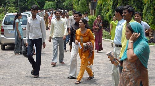 TET aspirants coming out of an examination center in Jaipur