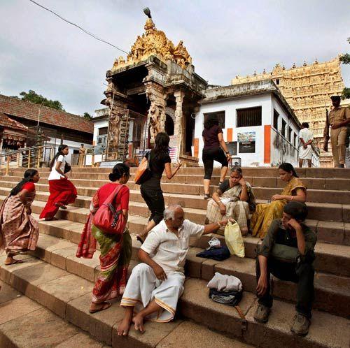 Devotees sitting outside Padmanabhaswami temple