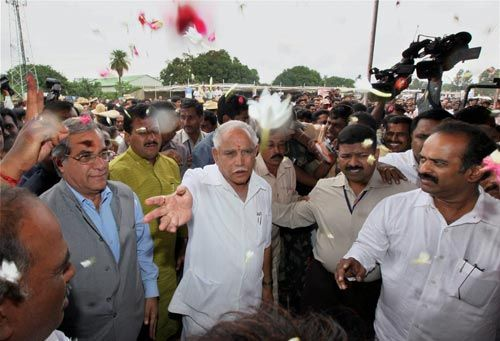 B. S. Yeddyurappa and other ministers at Raj Bhavan in Bangalore