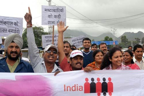 Social and human rights groups shout anti-government slogans in Ajmer