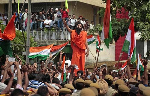 Baba Ramdev outside Tihar Jail