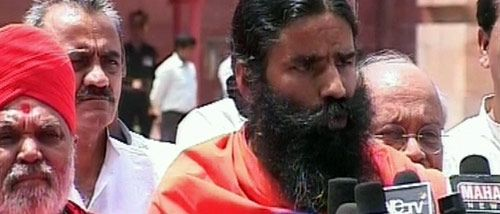Baba Ramdev outside Tihar