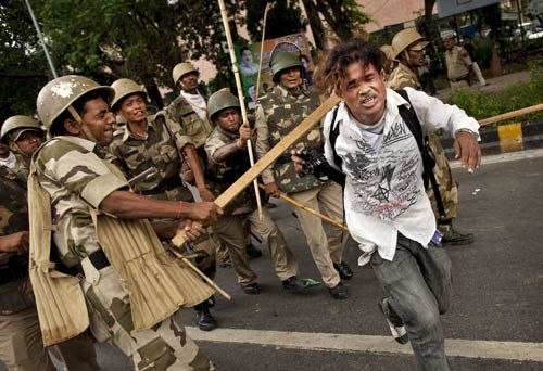 BJP workers clash with police