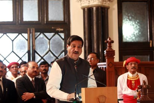 Maharashtra Chief Minister Prithviraj Chavan delivers his speech in Mumbai
