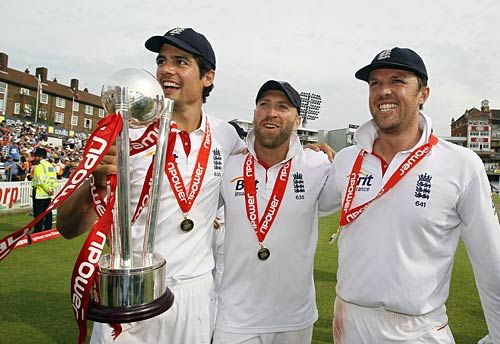 Graeme Swann, Matt Prior and Alastair Cook