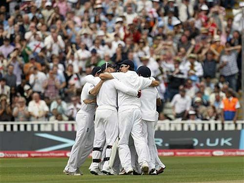 English players celebrate the win