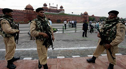 Policemen at the Red Fort in Delhi