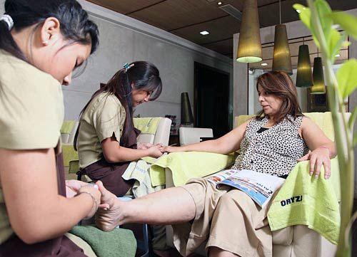 A treatment in progress at Oryza