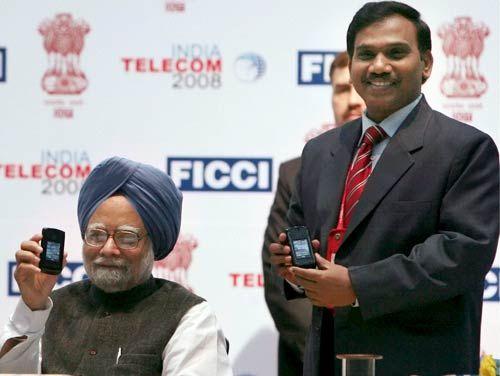 Manmohan Singh with A Raja