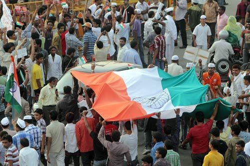 Supporters at Ramlila Maidan.