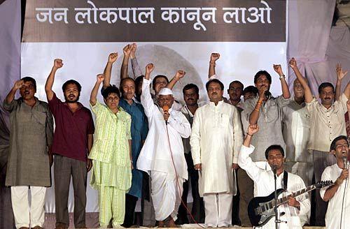 Team Anna Hazare with Vilasrao Deshmukh